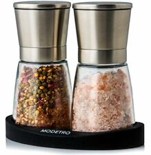 Salt and Pepper Grinder Set with Silicon Stand - Premium Pair of Salt   Pepperco