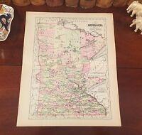Original 1894 Antique Map MINNESOTA Mankato Rochester Anoka Austin Duluth Eagan