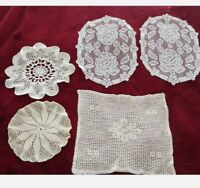 """Crochet Flower Doilies Lot of 5 Oval Round Square 12"""" Hand Made Floral Off White"""