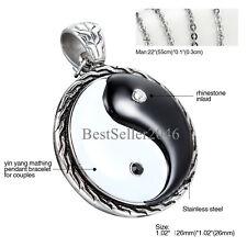 "Mens 316L Stainless Steel Retro Tai Chi Bagua Yin Yang Fish Pendant Necklace 22"""