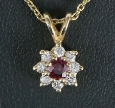 $1,950 14K Yellow Gold Ruby Round Diamond Flower Pendant 18'' Chain Necklace