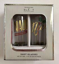 Slant Collection Island Set Naughty Nice Shot Glass 2 Fl Oz Each Christmas NIB