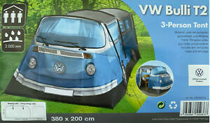 VW Volkswagen Bulli T2 Bus Tent For 3 Person Camping Campsite New Blue