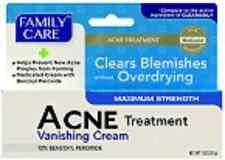 Acne Pimple Treatment Cream, Max. Strength 10% Benzoyl Peroxide,Family Care 1 oz