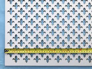 Radiator cover grille Decorative screening panel Fleur de lys design
