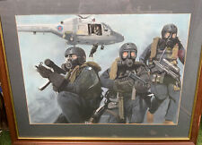 F/G Brian Lewis Original Pastel Drawing 'Royal Navy SBS Unit & Lynx Helicopter'
