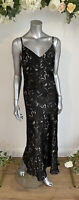 Influence Dress Size 8 & 12 Black Satin Maxi Dress Abstract Floral Print HH89