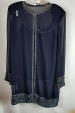 2 pc Navy Blue Beaded Tank and Jacket Set by Gunit    size 14