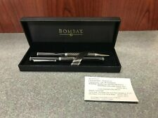 Bombay Pen and Pencil Set Black Checkered w/casem Checkered Black RB Set