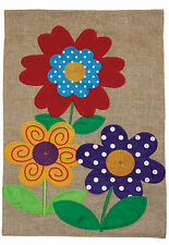 New listing New Toland - Polkadot Flowers Burlap - Colorful Spring Summer Garden Flag