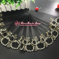 27 cm, 1yard Delicate Black embroidered flower tulle lace trim Sewing DIY FL212