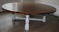 10-12 seater Round Dining Tudor Table Chunky 'Smoked Oak Stain' Top