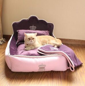Pink Princess Luxurious Pet Dog Cat Sofa Bed House Puppy Kennel+Pillow Blanket