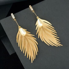 Simulated Pearls Long Tassel Dangle Earrings For Women Leaf Feather Drop Jewelry