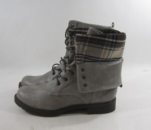 """NEW  Gray 1.5""""Block Heel Lace Up Combat Round Toe Sexy Ankle Boot women Size 7"""
