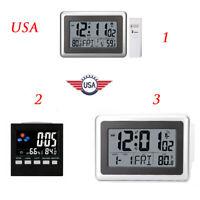 Three Forms Digital LCD Wall Clock Temperature Snooze Alarm Atomic Indoor