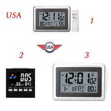 Three Forms Digital LCD Wall Clock Temperature Snooze Alarm Atomic Indoor