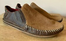 Olukai Mens Brown Leather And Cowhide Ali'l'Elua Slip On Loafers Size 8M