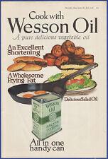 Vintage 1918 WESSON Oil Salad Frying Eggs Kitchen Decor Ephemera Print Ad