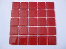 Red Glass Tiles 25 x pcs for MOSAIC & Glass Crafts Approx 2.2cm x 2.2cm