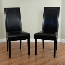 Leather Chairs For Dining Room Cheap Casual High Back Black Set Of 2 Wood Frame
