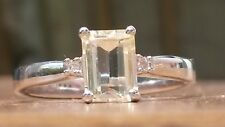 Rare Lemon Kunzite ring with white sapphire accents UK size M