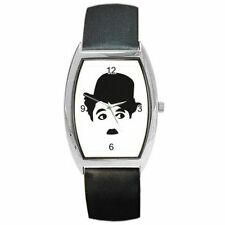 "Charlie Chaplin "" The Little Tramp"" on a Barrel Watch with Leather Band"