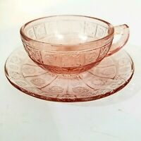 Vintage Jeannette Glass Doric & Pansy Pink Depression Teacup And Saucer Childs