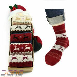 5 Pairs Women Winter Socks Warm Wool Deer Cute Snowflake Socks Christmas Gift UK