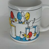 Vintage HF Easter Egg Dying Anthropomorphic Coffee Mug Cup 1987
