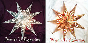 Hand made in India hanging 9 point star pendant light shade silver or bronz-62cm