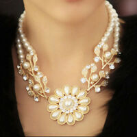 Crystal Pearl Flower Pendant Choker Chunky Statement Bib Collar Necklace Jewelry