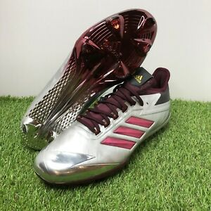 Adizero Baseball Cleats - Afterburner 4 Faded Silver/Maroon Size 11.5 (BY3679)