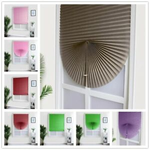 Self Adhesive Pleated Blinds Curtain Half Blackout Home Window Covers Shades