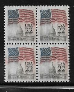 2114 22 Cent Flag Over Capitol Block With Solvent Smear
