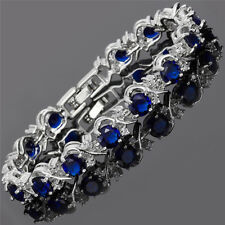 Round Cut Rhinestone Blue Sapphire 18K White Gold Plated Tennis Bracelet 7inches