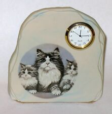 Cat Clock Womack's Collectibles Mother Cat & Kittens