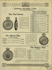 1924 PAPER AD Dueber Hampden Pocket Watch The Paul Revere A Lincoln Illinois ++