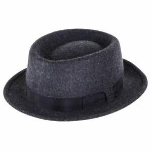 Failsworth Men's 100% Wool Chicago Pork Pie Hat In Grey