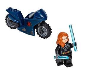 NEW LEGO Super Heroes Black Widow Minifigure + Bike 76162 Taskmaster Helicopter