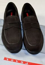 PRADA SPORT SHOES BROWN SUEDE CALFSKIN LOGO EMBOSSED PENNY LOAFER 9.5 42.5 NEW