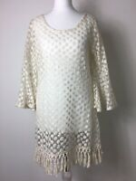Gorgeous Ivory Sheer Net Vintage Fringed Mini Dress Fluted Sleeves Festival 8 10