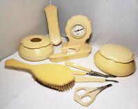 Vtg Ivory Pyralin Du Barry Celluloid Art Deco 7 Piece Vanity Dresser Set