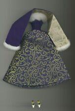 BARBIE bambola-doll-puppe-poupee - ABITO, DRESS BLUE & GOLD VELVET HOLIDAY