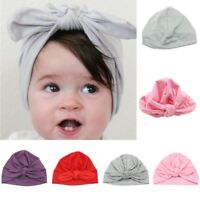 Newborn Baby Girls Turban Bow Knot Head Wrap Hat Cotton Cap Headband Hot