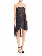 #HALSTON HERITAGE SEQUINED STRAPLESS MINI COCKTAIL DRESS, BLACK, SIZE 2
