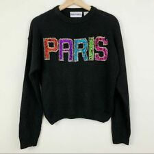 Vintage Mainframe Paris Beaded Silk Angora Sweater M Black Wool Sequins