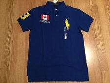 Polo Ralph Lauren blue yellow big pony Canada World Cup Olympic flag #3 shirt XL