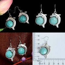 Tibetan Silver Turquoise Dolphin Ocean Aquatic Earrings Stud Jewellery Gift Bag