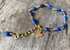 Natural Blue Lapis Gold Filled Wire Wrapped Handmade Beaded Bracelet